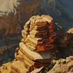 Oil painting of the view from below the Watchtower in the Grand Canyon AZ