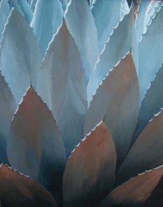 Oil painting of sunlight reflecting in and through an Agave plant