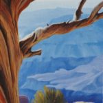 Small oil painting of the Grand Canyon through a weatherworn old tree