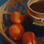 Oil painting of mandarin oranges and a coffee mug in a wicker basket