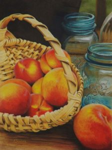 Peaches and Ball Jar colored pencil drawing that won 1st place in 2018 KY State Fair
